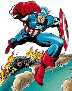 Captain America depicted by his co-creator, Jack Kirby.  © Marvel Comics.